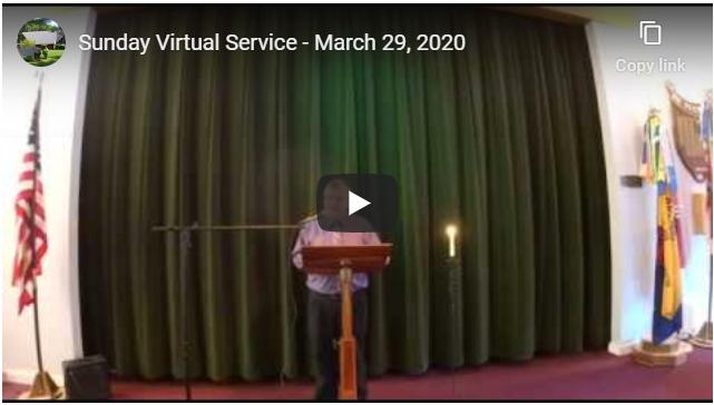 Sunday Virtual Service – March 29th