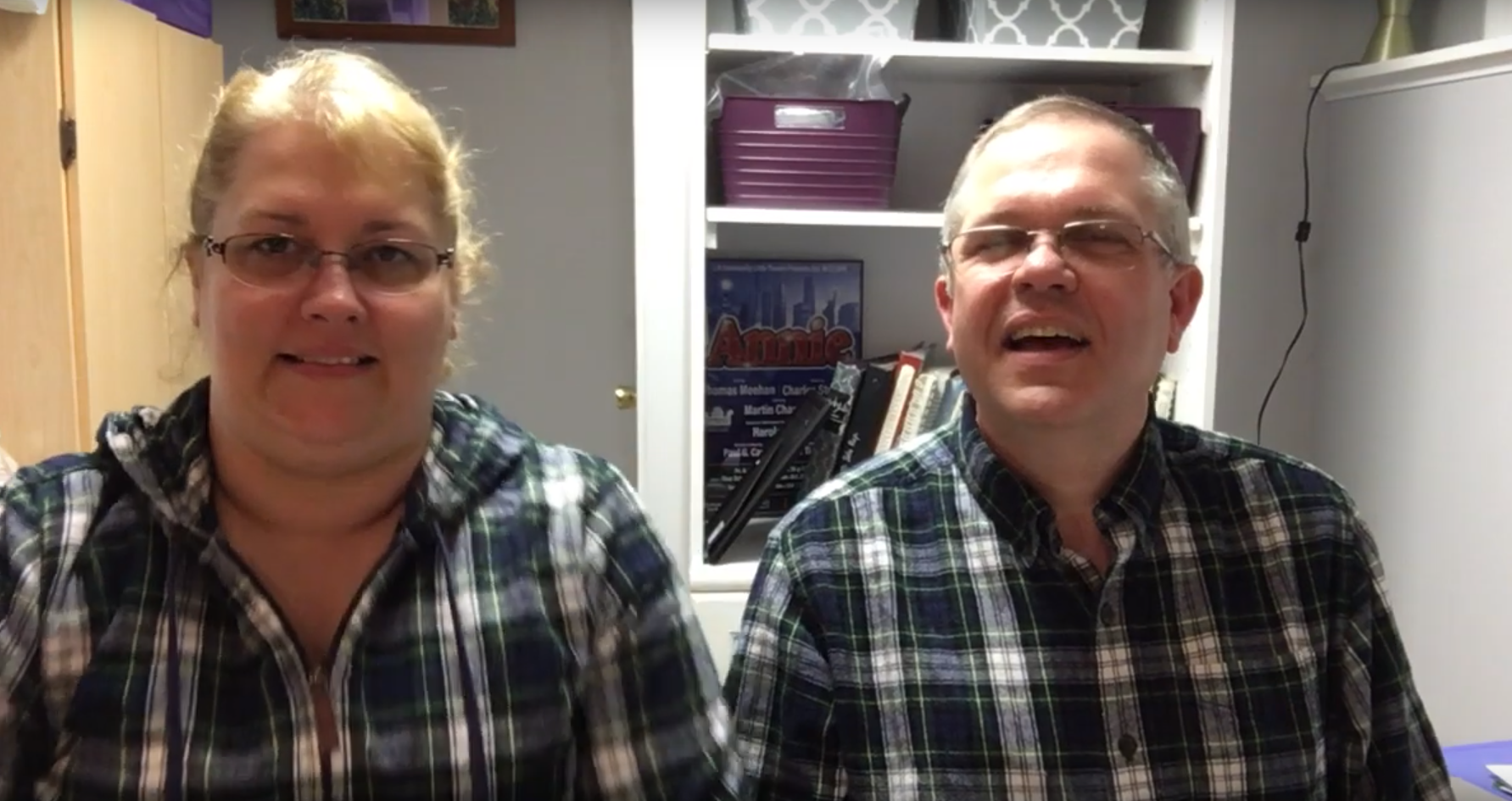 Beth and Bill singing hymns from home